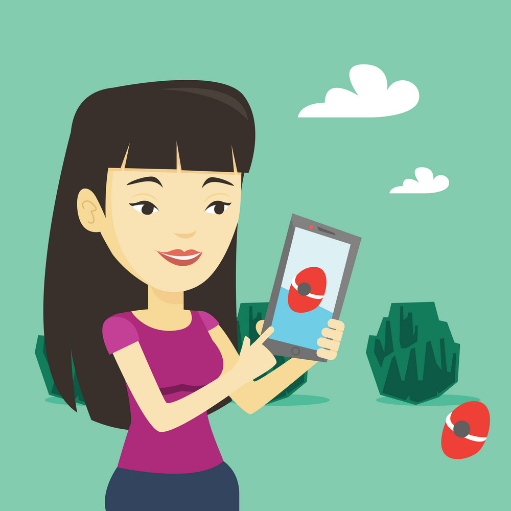 Young asian woman playing action game on smartphone. Young woman playing with her mobile phone outdoor. Woman using smartphone for playing action game. Vector flat design illustration. Square layout.