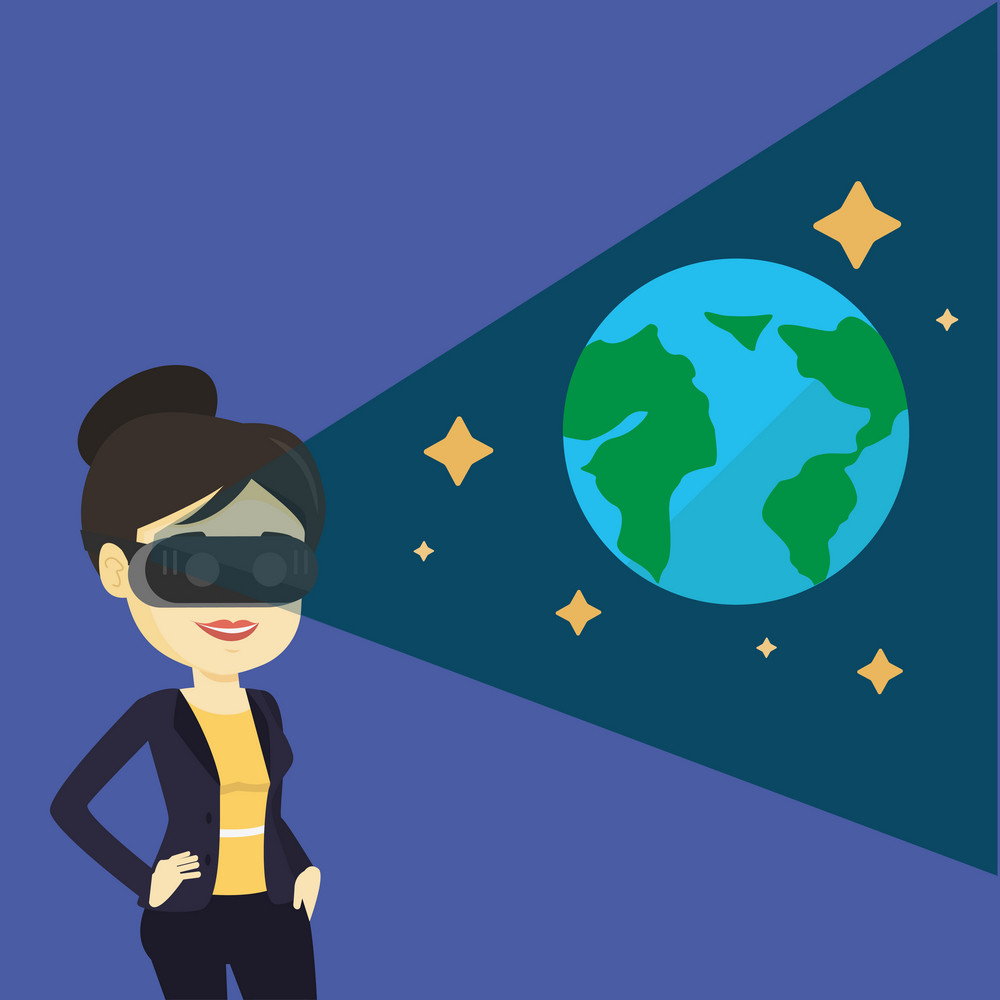 Young asian woman playing virtual game. Happy gamer wearing futuristic virtual reality headset and looking at open space with earth model and stars. Vector flat design illustration. Square layout.