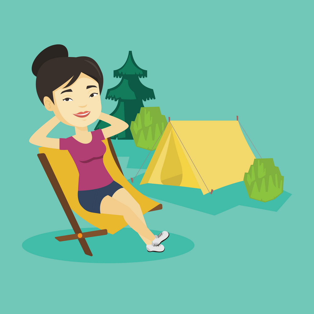 Young asian woman relaxing in camping. Smiling woman sitting in chair on the background of camping site. Relaxed woman enjoying vacation in camping. Vector flat design illustration. Square layout.