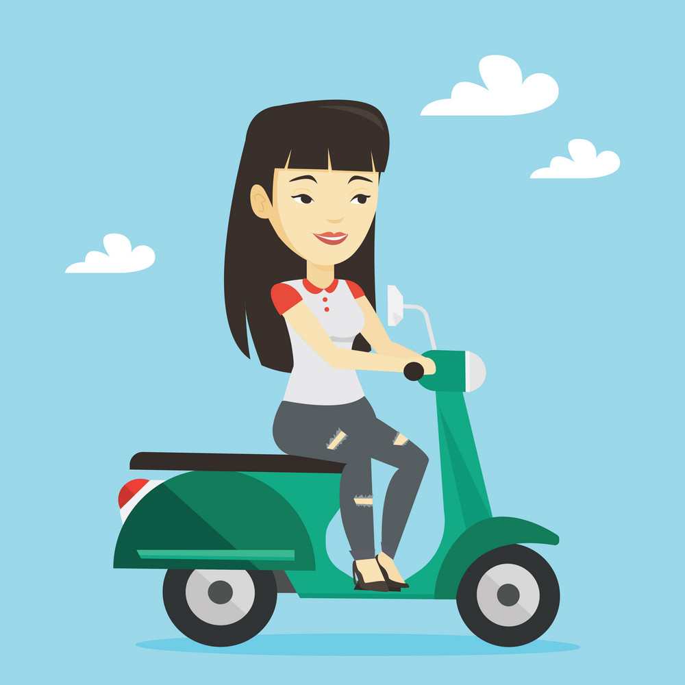 Young asian woman riding a scooter outdoor. Smiling woman traveling on a scooter. Happy woman enjoying her trip on a scooter. Vector flat design illustration. Square layout.