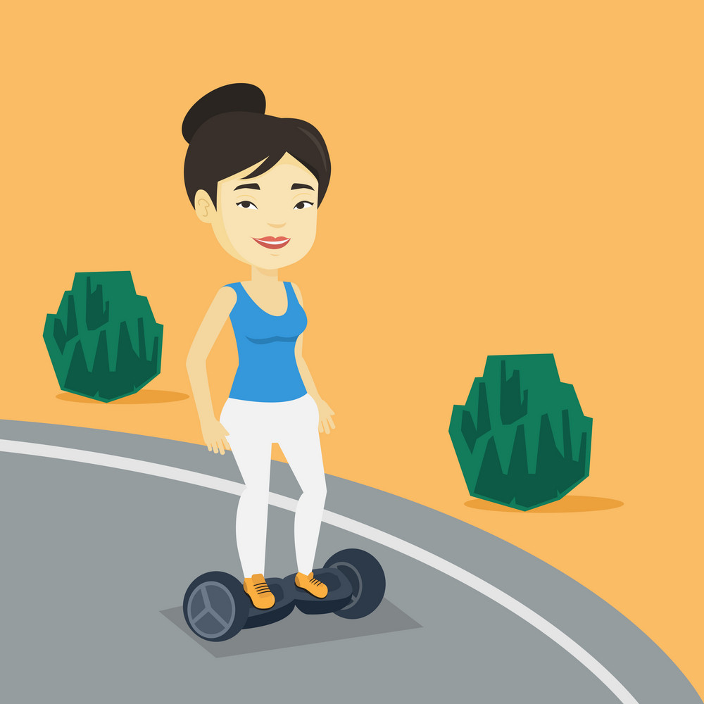Young asian woman riding on self-balancing electric scooter in the park. Cheerful woman riding on gyroscooter outdoor. Woman standing on gyroboard. Vector flat design illustration. Square layout
