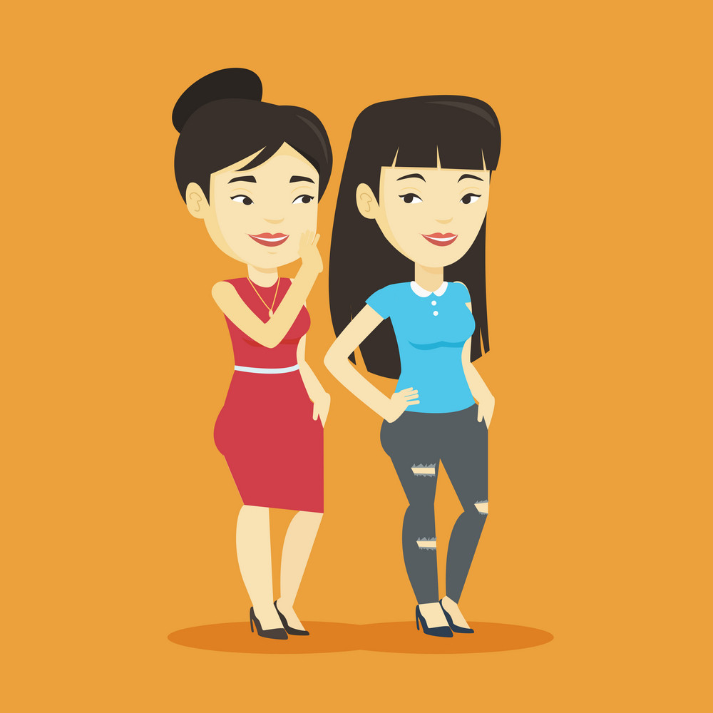 Young asian woman shielding her mouth and whispering a gossip to her friend. Two happy women sharing gossips. Smiling friends discussing gossips. Vector flat design illustration. Square layout.