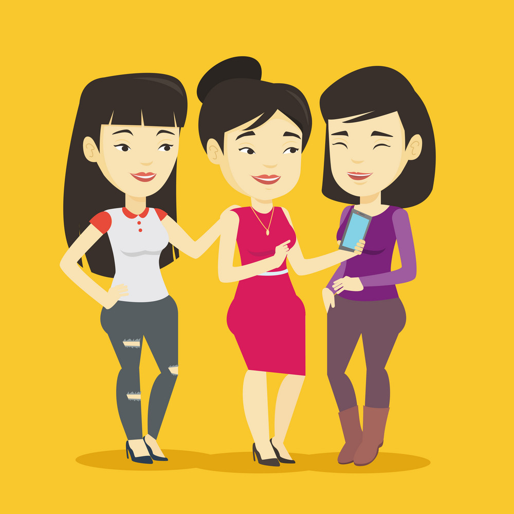Young asian woman showing something to her friends on her smartphone. Three happy friends looking at smartphone and laughing. Woman using smartphone. Vector flat design illustration. Square layout.