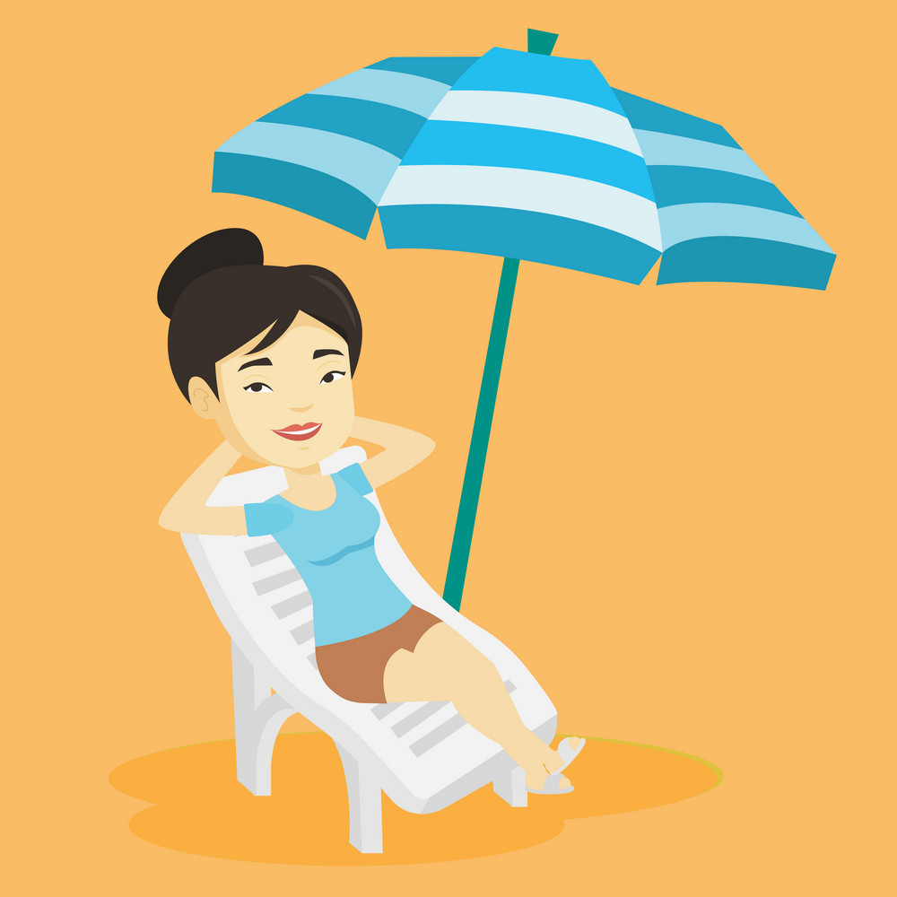 Young asian woman sitting in a beach chair. Woman resting on holiday while sitting under umbrella on a beach chair. Happy woman relaxing on beach. Vector flat design illustration. Square layout.