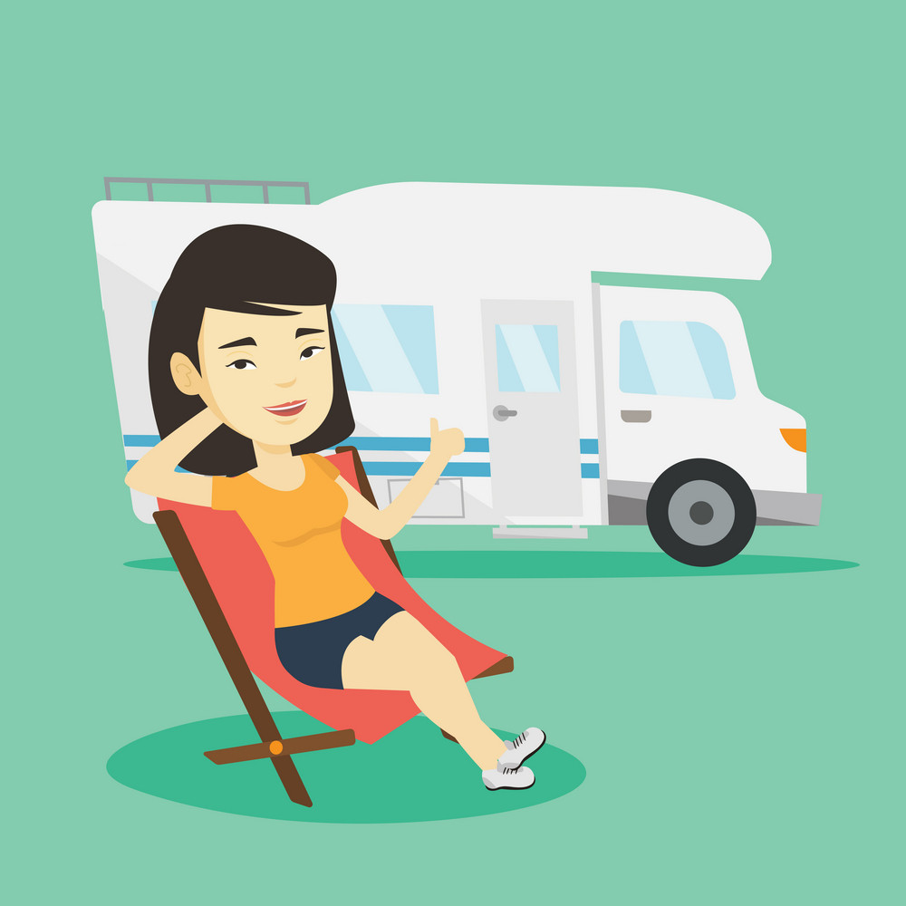 Young asian woman sitting in folding chair and giving thumb up on the background of camper van. Smiling woman enjoying her vacation in camper van. Vector flat design illustration. Square layout.