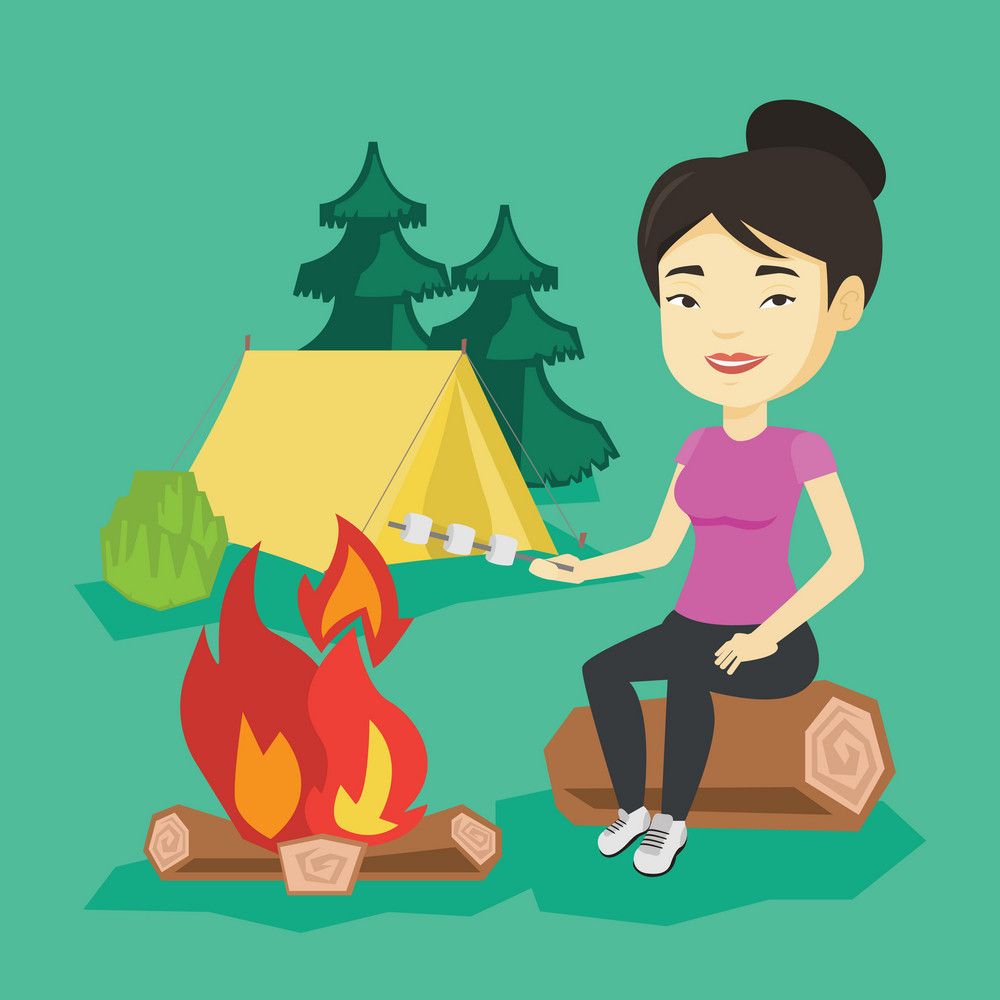 Young asian woman sitting on a log near campfire with marshmallow. Traveler woman roasting marshmallow over campfire. Tourist relaxing near campfire. Vector flat design illustration. Square layout.