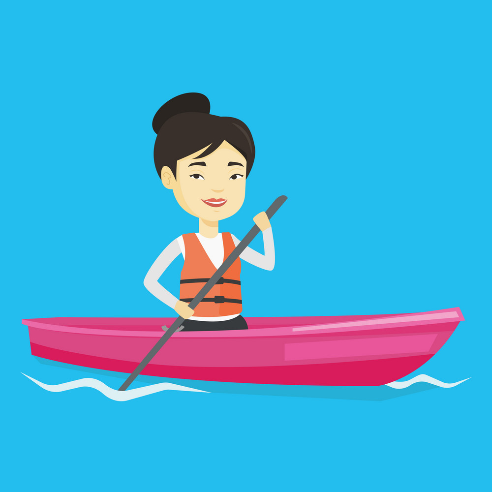 Young asian woman traveling by kayak. Female kayaker paddling. Sportswoman riding in a kayak in the river. Sportswoman paddling a canoe. Vector flat design illustration. Square layout.