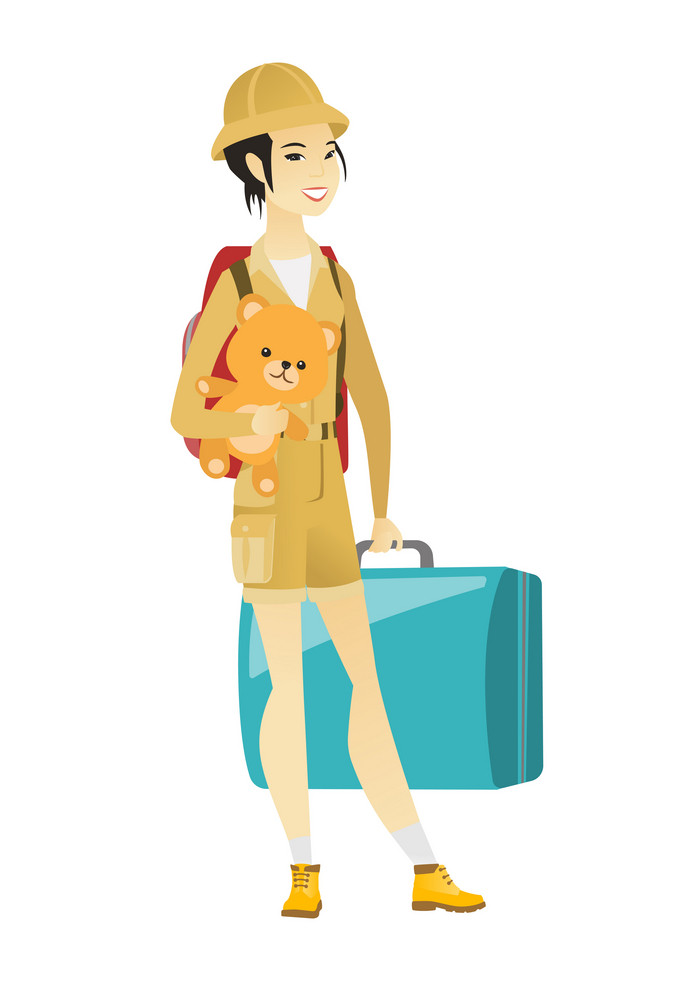 Young asian woman traveling with old suitcase, backpack and teddy bear. Full length of happy woman traveler carrying a vintage suitcase. Vector flat design illustration isolated on white background.