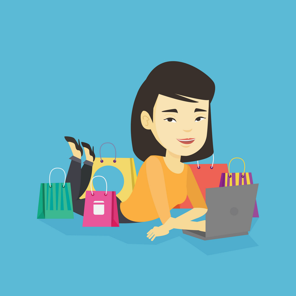 Young asian woman using laptop for online shopping. Smiling woman lying with laptop and making online shopping order. Woman doing online shopping. Vector flat design illustration. Square layout.