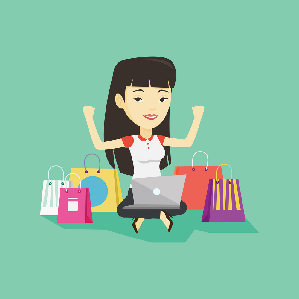 Young asian woman with hands up using laptop for shopping online. Happy customer sitting with shopping bags around her. Woman doing online shopping. Vector flat design illustration. Square layout.