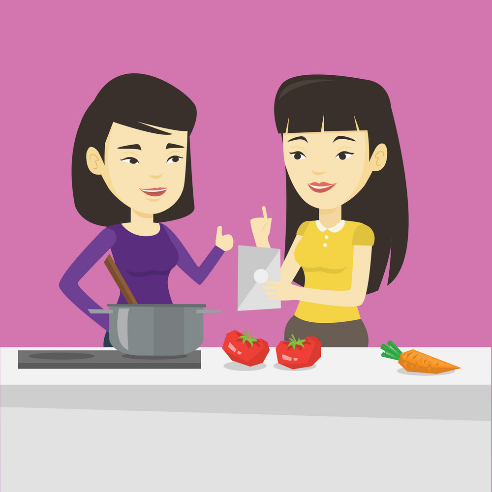 Young asian women following recipe for healthy vegetable meal on digital tablet. Friends cooking healthy meal. Friends having fun cooking together. Vector flat design illustration. Square layout.