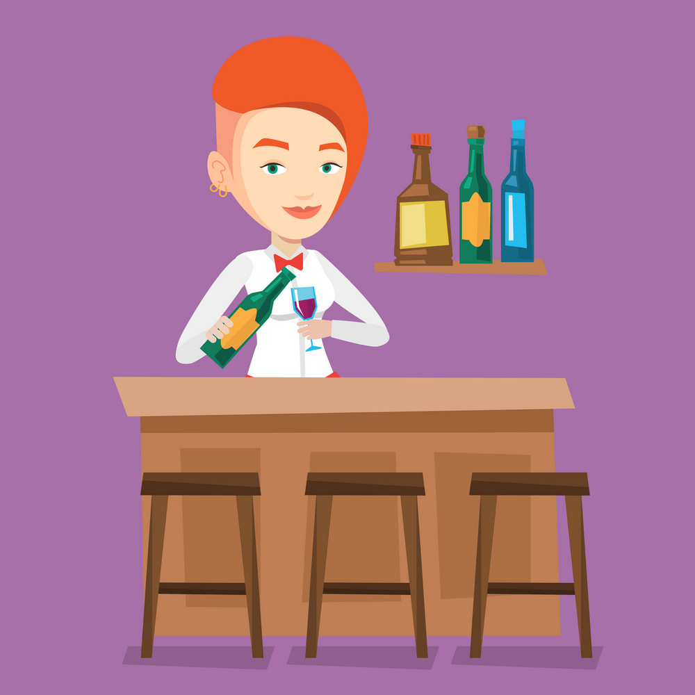 Young bartender standing at the bar counter. Bartender with bottle and glass in hands. Bartender pouring wine in a glass. Vector flat design illustration. Square layout.