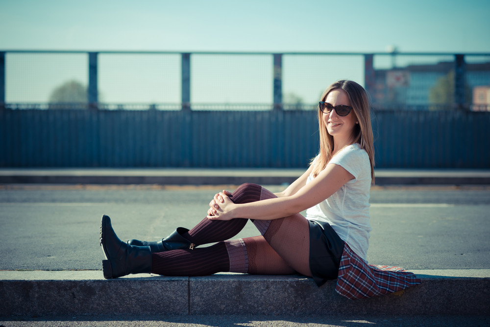 young beautiful woman in the city
