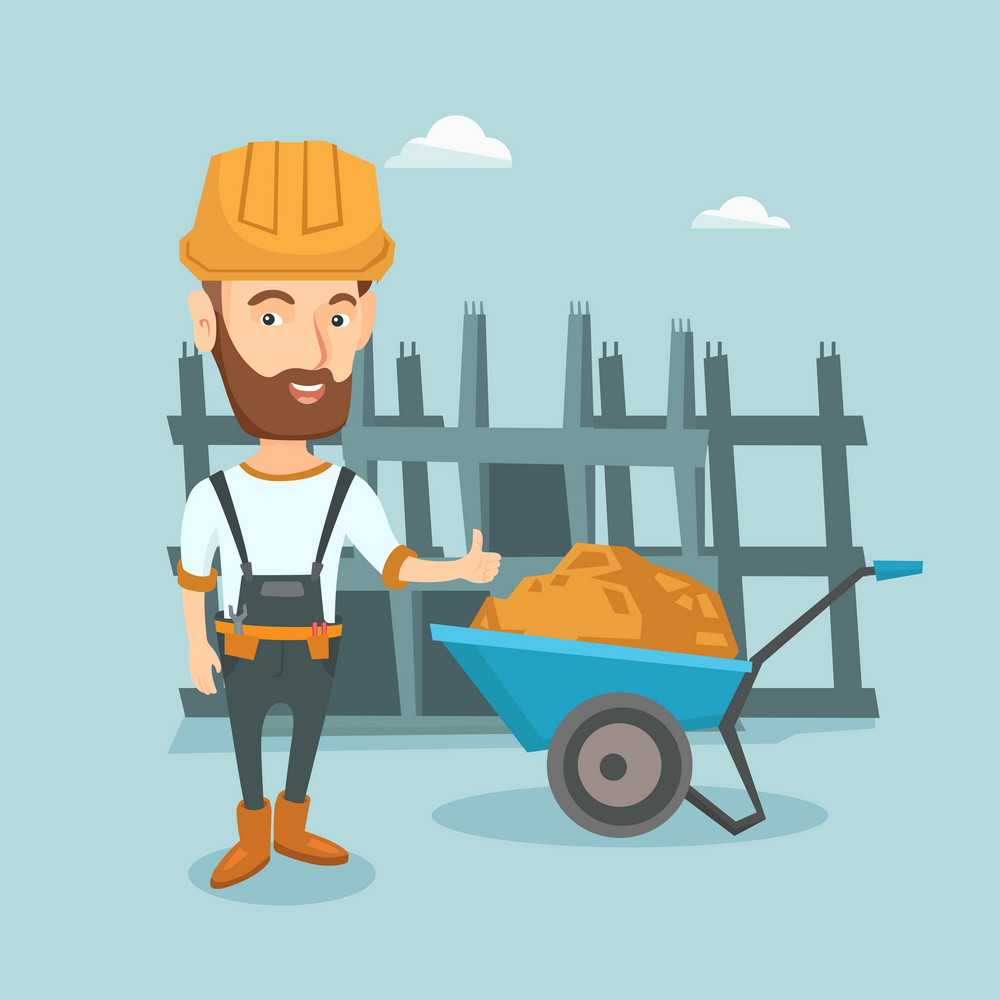 Young builder in hard hat giving thumb up. Caucasian builder with thumb up standing near wheelbarrow full of sand. Builder at work on construction site. Vector flat design illustration. Square layout.