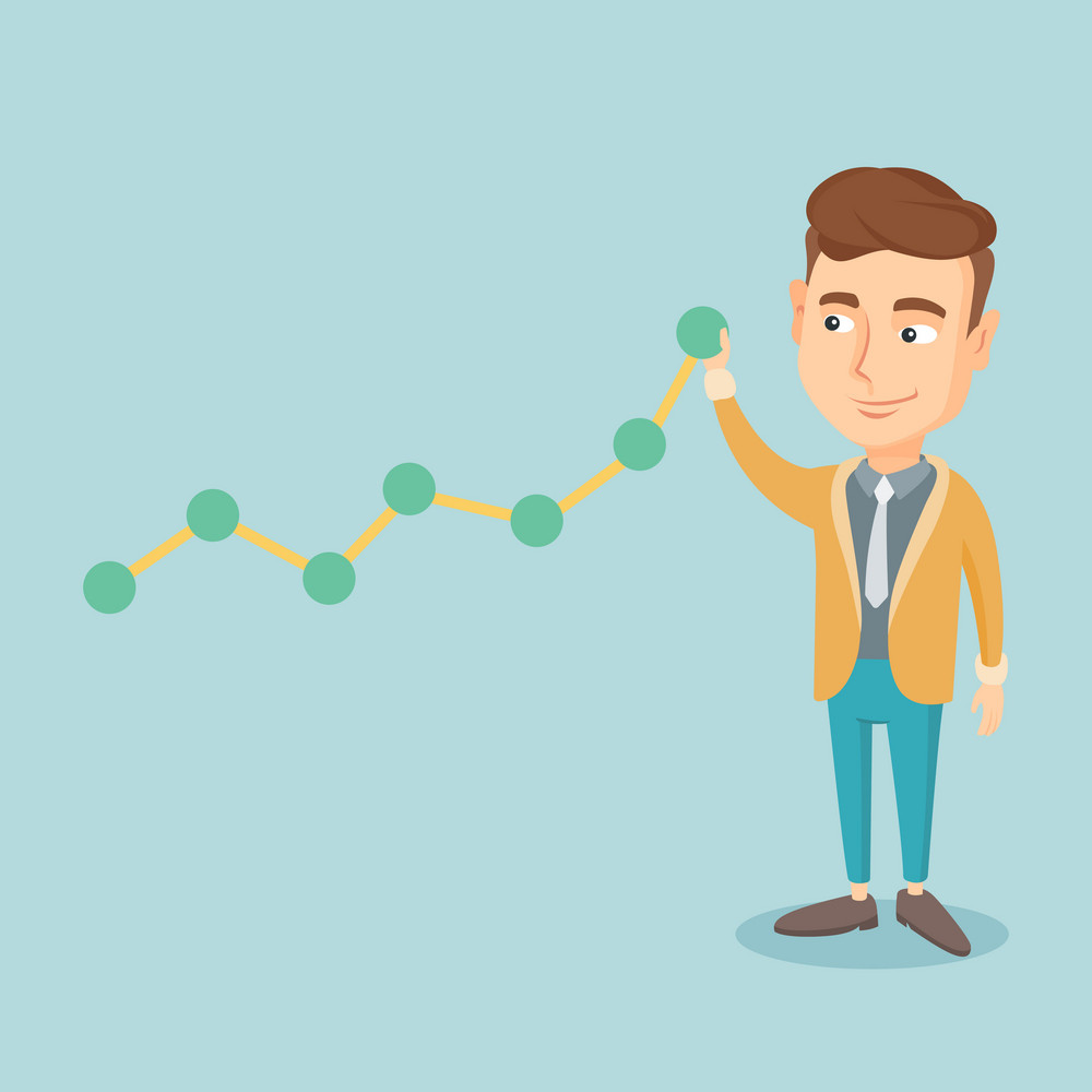 Young business man in suit looking at chart going up. Businessman lifting a business chart. Caucasian businessman pulling up a business chart. Vector flat design illustration. Square layout.