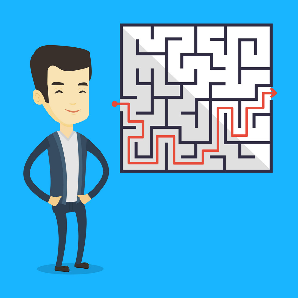 Young business man looking at labyrinth with solution. Asian business man thinking about business solution. Business solution concept. Vector flat design illustration. Square layout.