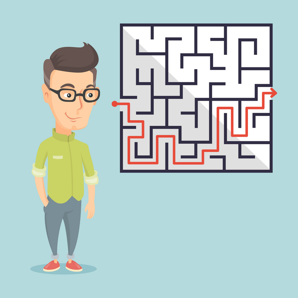Young business man looking at labyrinth with solution. Caucasian business man thinking about business solution. Business solution concept. Vector flat design illustration. Square layout.