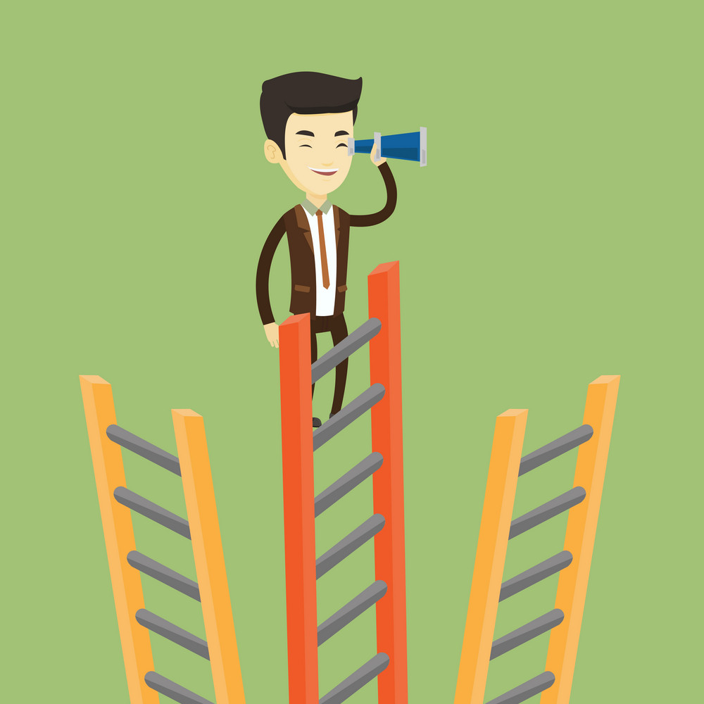 Young business man searching for opportunities. Asian business man using spyglass for searching of opportunities. Concept of business opportunities. Vector flat design illustration. Square layout.