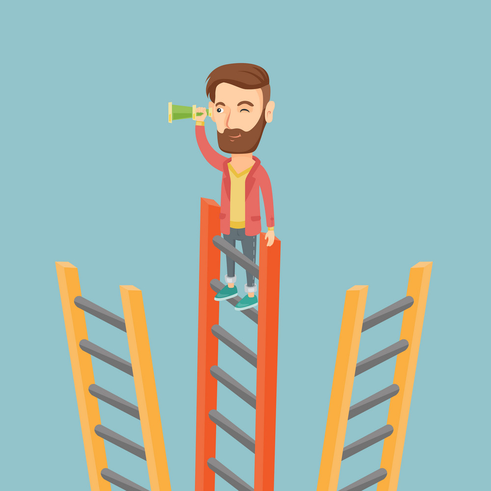 Young business man searching for opportunities. Caucasian business man using spyglass for searching of opportunities. Business opportunities concept. Vector flat design illustration. Square layout