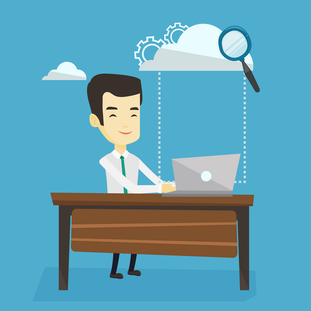 Young business man working on laptop under cloud. Asian business man using cloud computing technologies. Cloud computing and business technology concept. Vector flat design illustration. Square layout