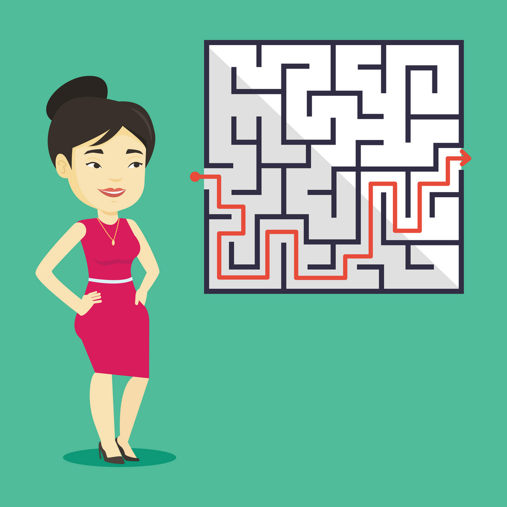 Young business woman looking at labyrinth with solution. Asian business woman thinking about business solution. Business solution concept. Vector flat design illustration. Square layout.