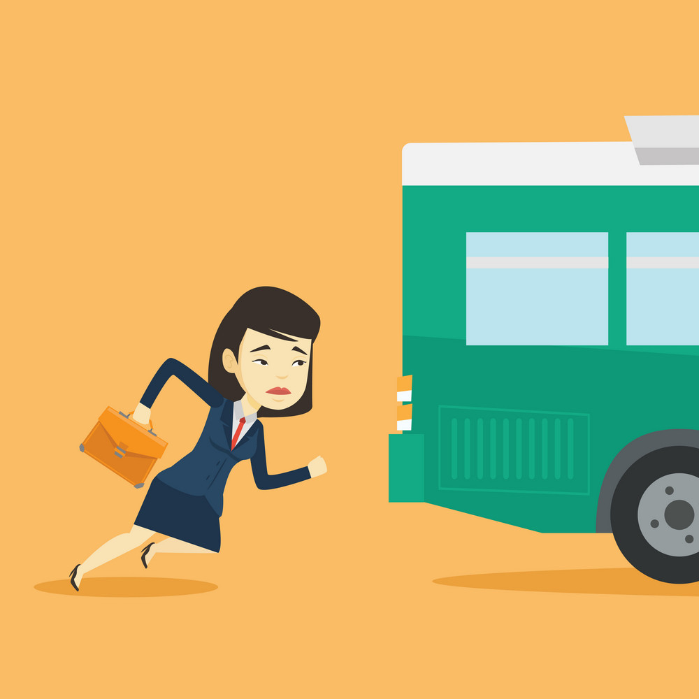 Young business woman running to catch bus. Upset asian business woman running for an outgoing bus. Sad latecomer business woman running to reach a bus. Vector flat design illustration. Square layout.