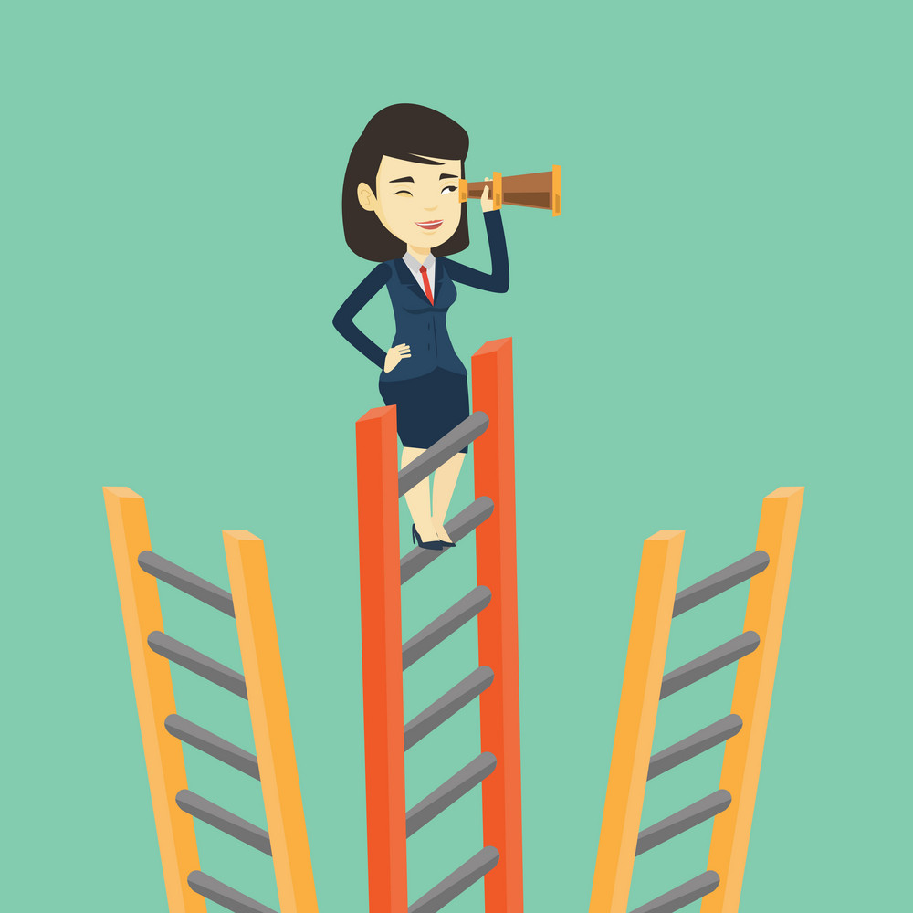 Young business woman searching for opportunities. Asian business woman using spyglass for searching of opportunities. Concept of business opportunities. Vector flat design illustration. Square layout.