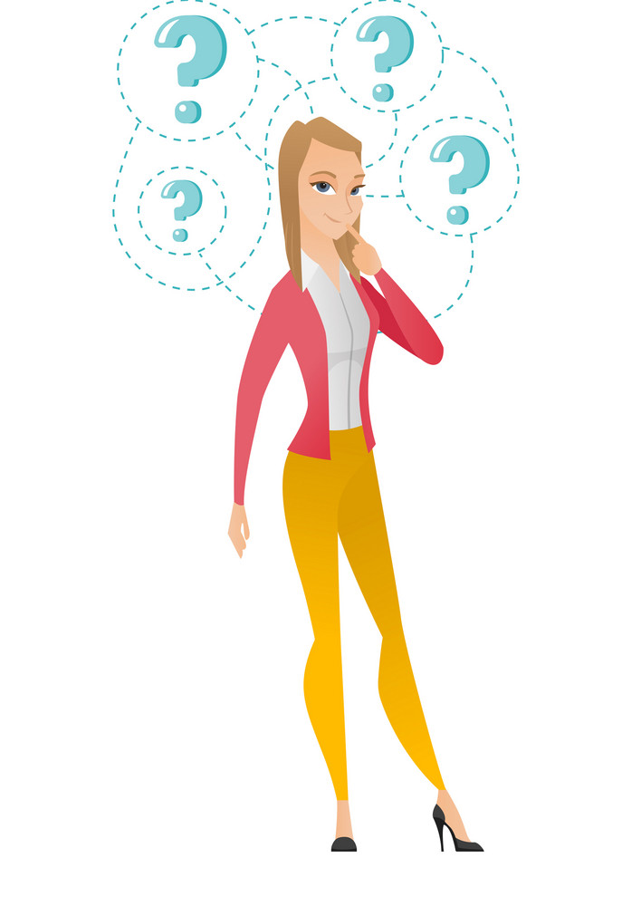 Young business woman thinking. Thinking business woman standing under question marks. Thinking business woman surrounded by question marks. Vector flat design illustration isolated on white background