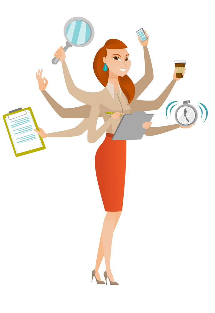 Young business woman with many legs and hands coping with multitasking. Business woman doing multiple tasks. Multitasking business person. Vector flat design illustration isolated on white background.