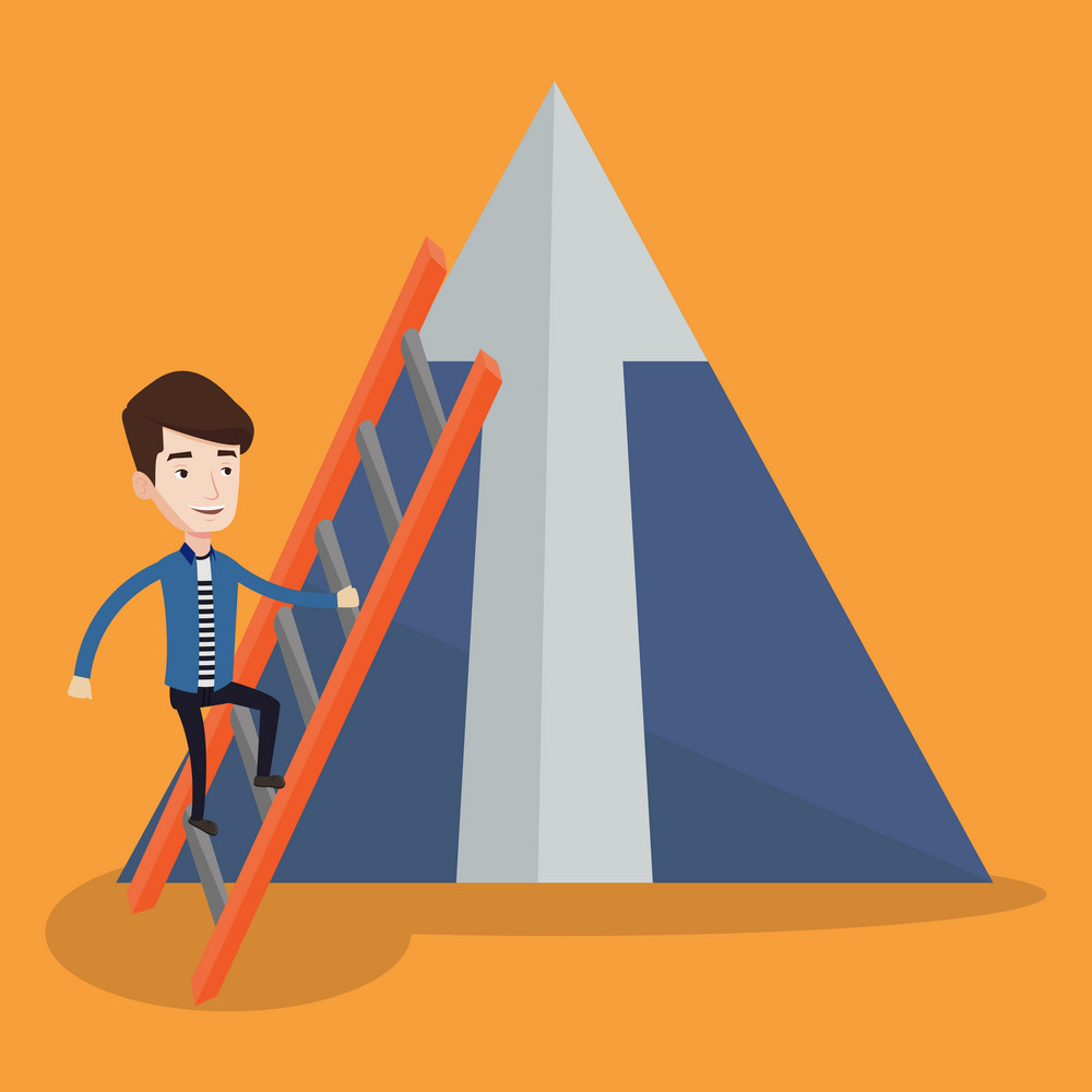 Young businessman climbing the ladder. Happy businessman climbing on mountain. Businessman climbing upward on the stairs to the top of a big arrow. Vector flat design illustration. Square layout.