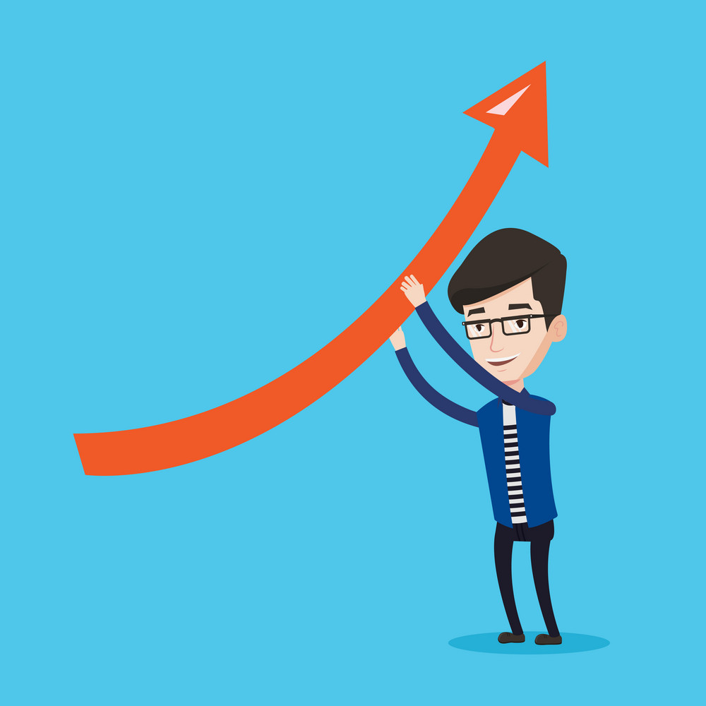 Young businessman holding arrow going up. Successful businessman with growth graph. Businessman changing the path of an arrow to a positive increase. Vector flat design illustration. Square layout.