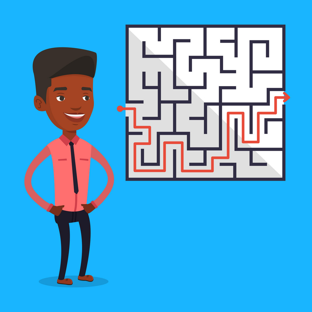 Young businessman looking at labyrinth with solution. An african-american businessman thinking about business solution. Business solution concept. Vector flat design illustration. Square layout.