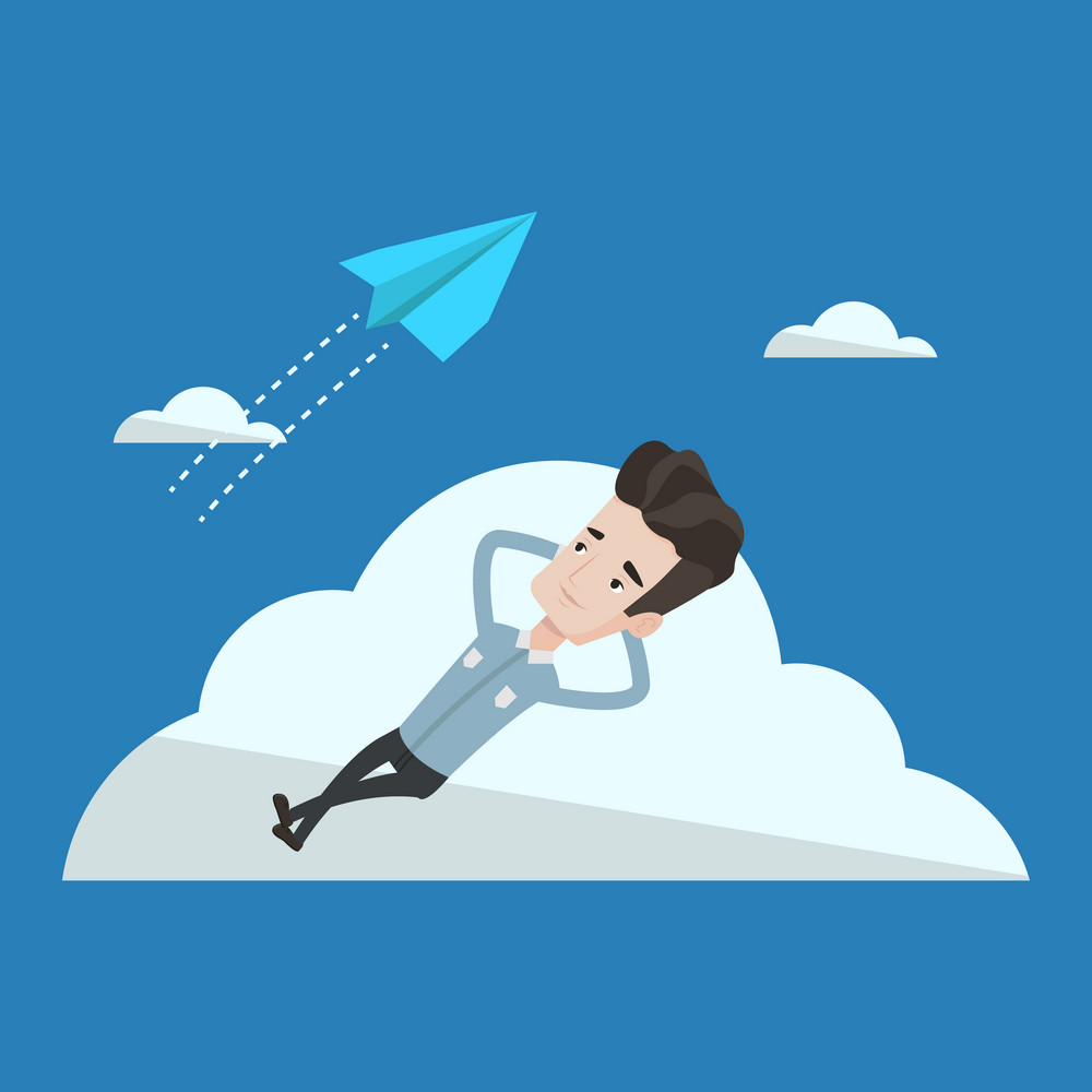 Young businessman lying on a cloud and looking at flying paper plane. Business man relaxing on a cloud. Vector flat design illustration. Square layout.