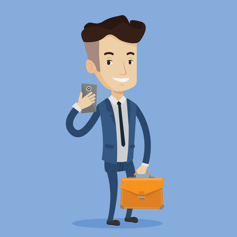 Young businessman with briefcase making selfie. Happy man in suit taking photo with cellphone. Businessman looking at smartphone and taking selfie. Vector flat design illustration. Square layout.