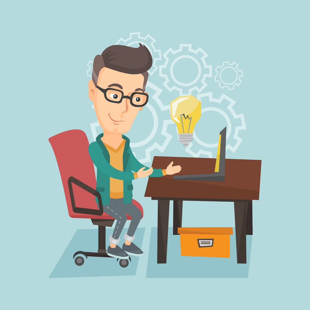 Young businessman working on a laptop on a new business idea. Caucasian happy business man having business idea. Successful business idea concept. Vector flat design illustration. Square layout.