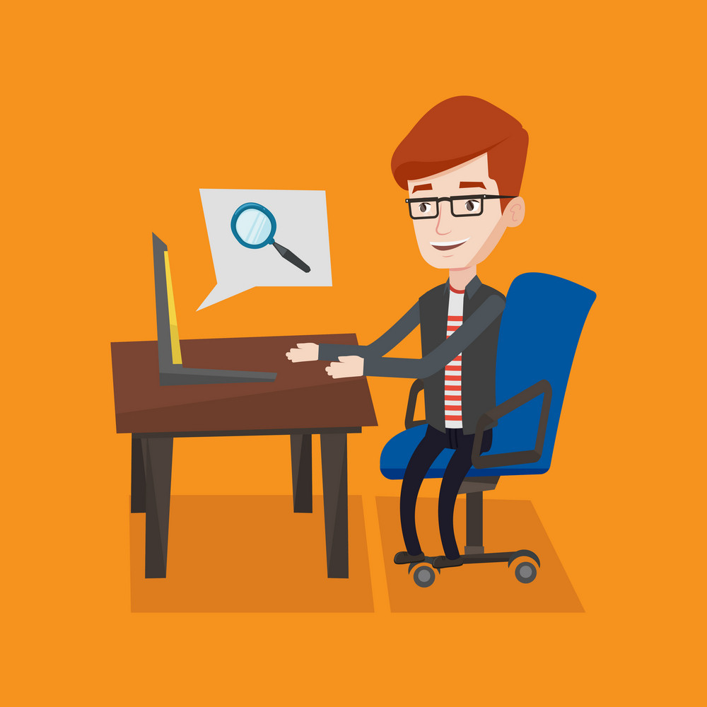 Young businessman working on his laptop in office and a magnifying glass coming out of his laptop. Concept of search. Vector flat design illustration. Square layout.
