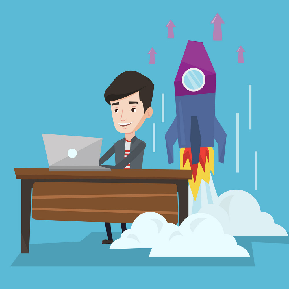Young businessman working on laptop in office and rocket taking off behind him. Man launching a new business. Successful business start up concept. Vector flat design illustration. Square layout.