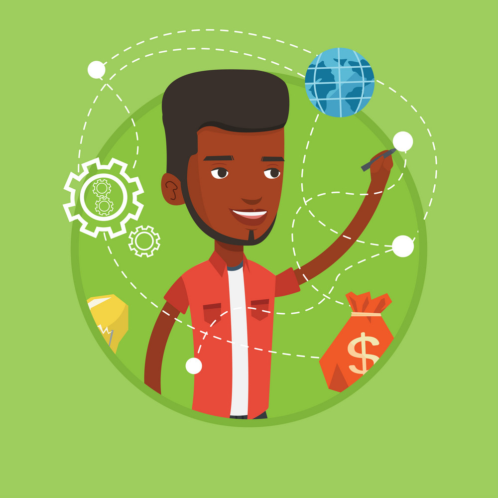 Young businessman writing on a virtual screen. Cheerful african-american businessman drawing a business plan on a virtual screen. Vector flat design illustration in the circle isolated on background.