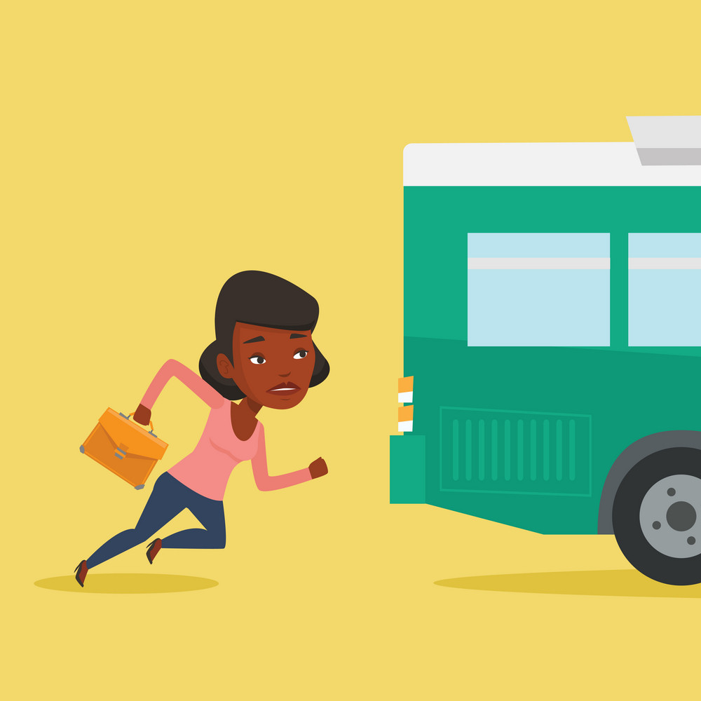 Young businesswoman running to catch bus. Upset african-american businesswoman running for an outgoing bus. Sad latecomer woman running to reach a bus. Vector flat design illustration. Square layout.