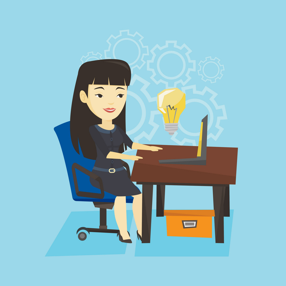 Young businesswoman working on a laptop on a new business idea. Asian happy business woman having new business idea. Successful business idea concept. Vector flat design illustration. Square layout.