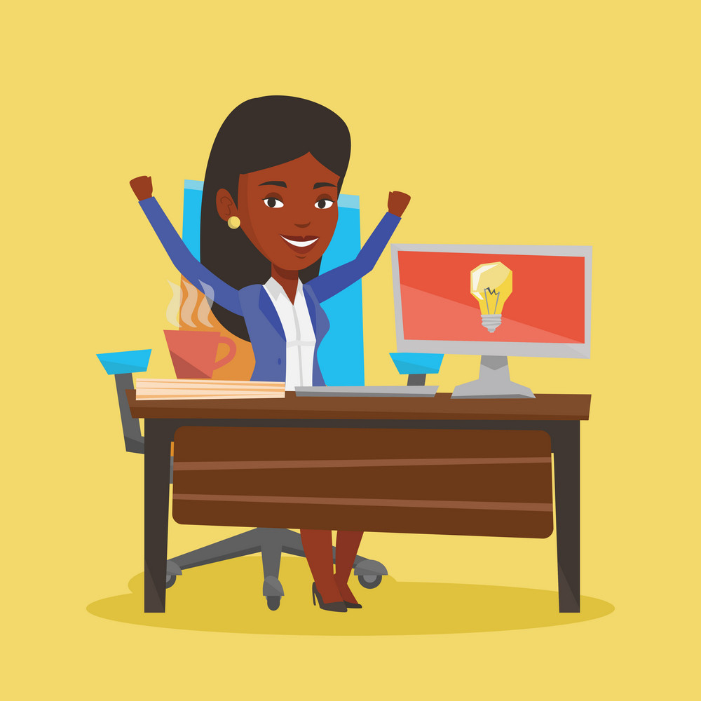 Young businesswoman working on laptop on a new business idea. An african-american happy woman having a business idea. Successful business idea concept. Vector flat design illustration. Square layout.