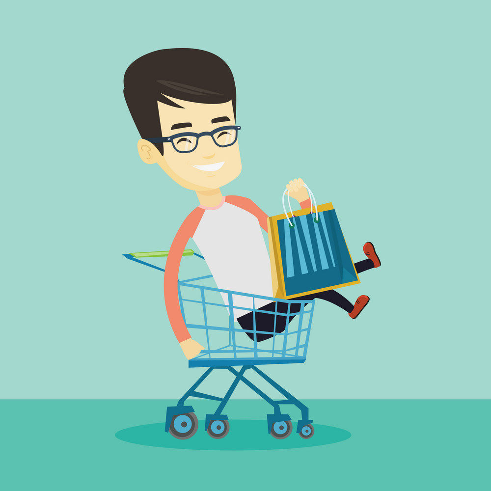 Young carefree customer having fun while riding by shopping trolley. Cheerful asian customer with a lot of shopping bags sitting in shopping trolley. Vector flat design illustration. Square layout.