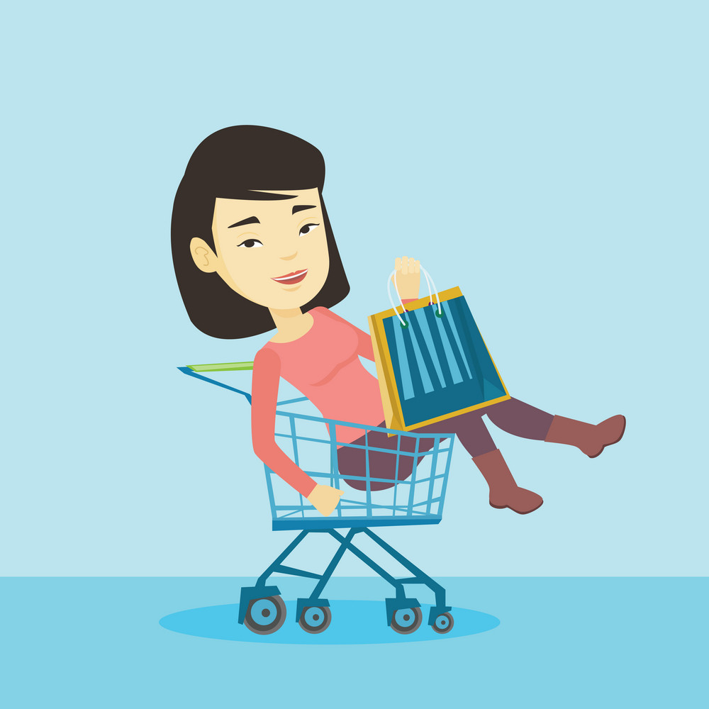 Young carefree customer having fun while riding by shopping trolley. Cheerful asian woman with a lot of shopping bags sitting in shopping trolley. Vector flat design illustration. Square layout.