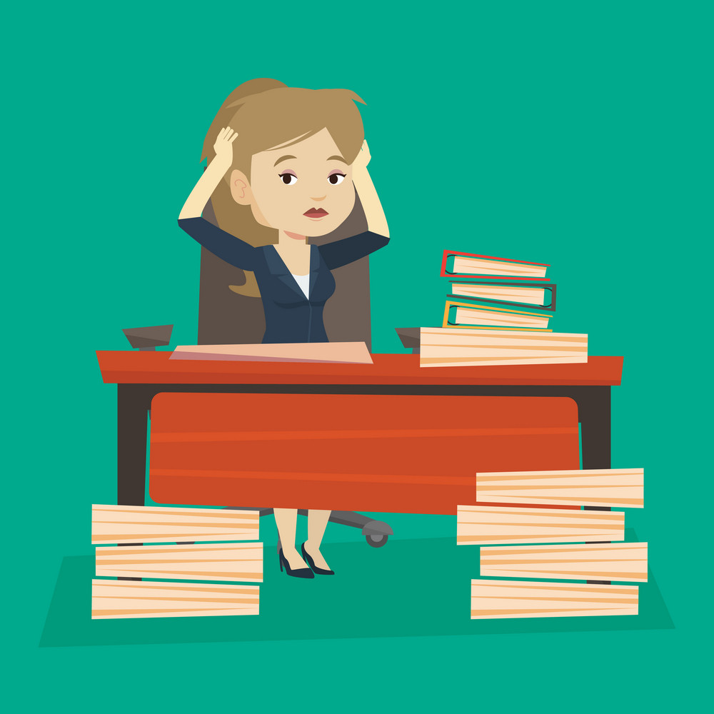 Young caucasian bsiness woman in despair sitting at workplace with heaps of papers. Stressful business woman sitting at the desk with stacks of papers. Vector flat design illustration. Square layout.
