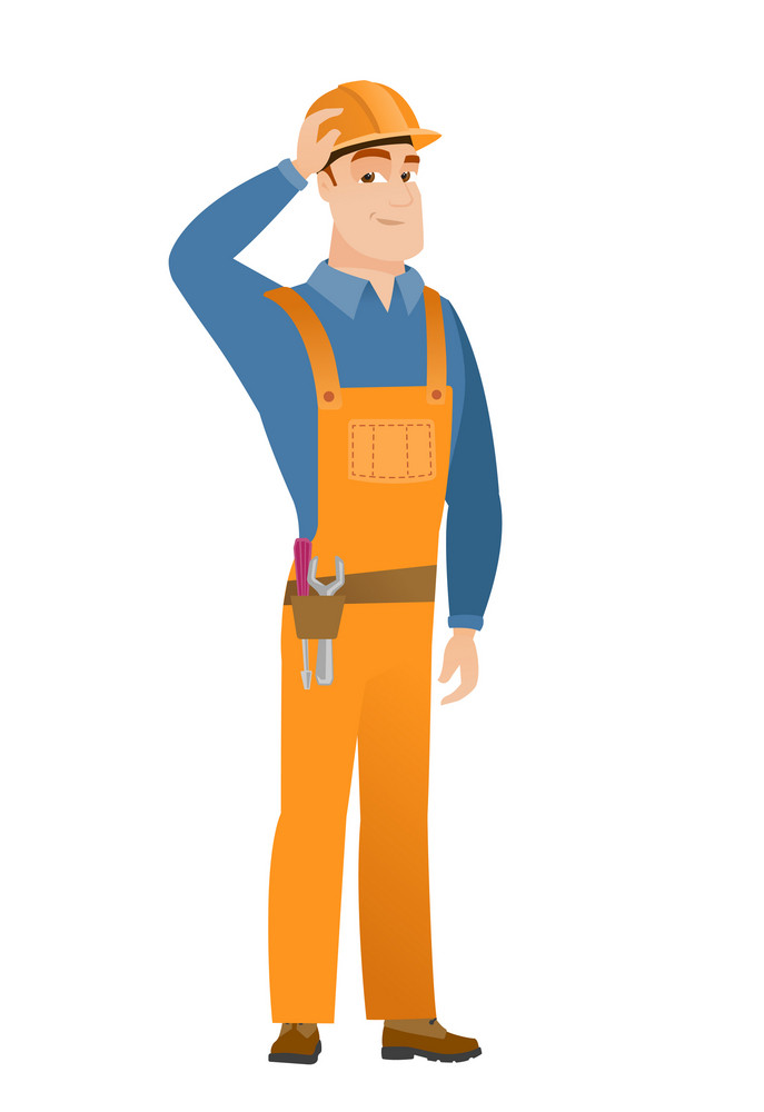 Young caucasian builder in workwear. Builder in workwear laughing with hand on his head. Builder in workwear laughing ant touching his hat. Vector flat design illustration isolated on white background