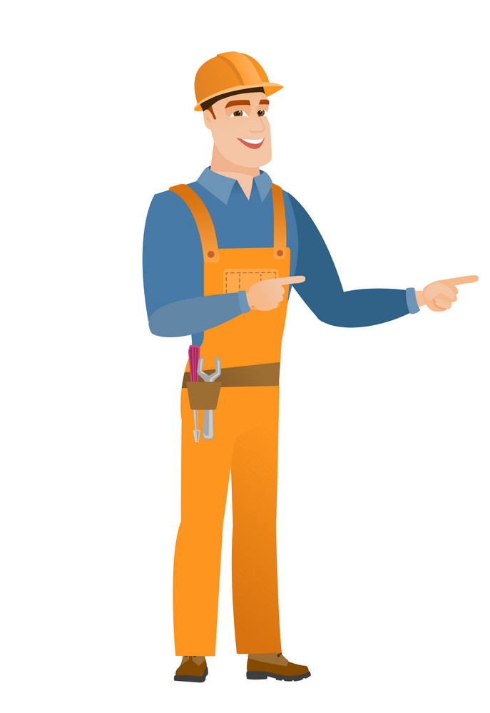 Young caucasian builder indicating with two fingers to the side. Full length of cheerful builder pointing with two fingers to the side. Vector flat design illustration isolated on white background.