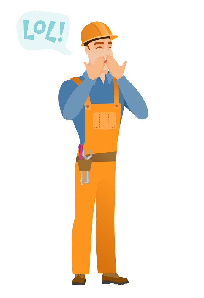 Young caucasian builder laughing out loud. Builder and speech bubble with text - lol. Builder laughing out loud and covering his mouth. Vector flat design illustration isolated on white background.