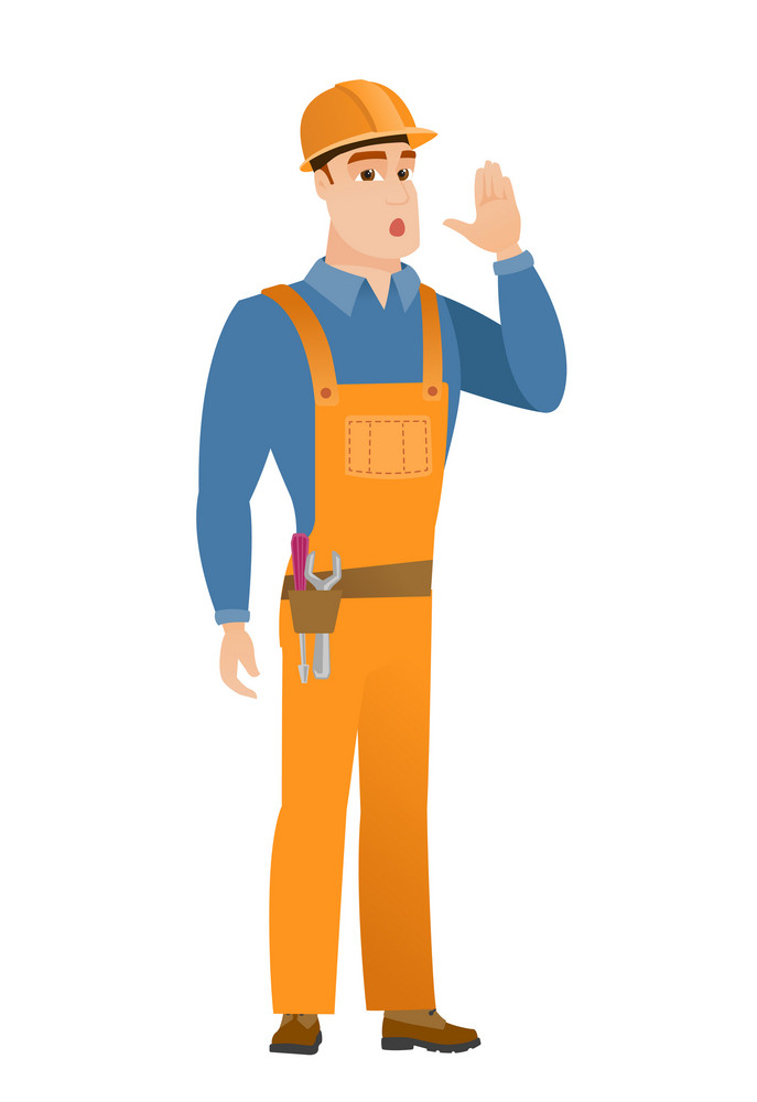Young caucasian builder lost and calling for help. Full length of builder calling for help. Builder in trouble calling for help. Vector flat design illustration isolated on white background.