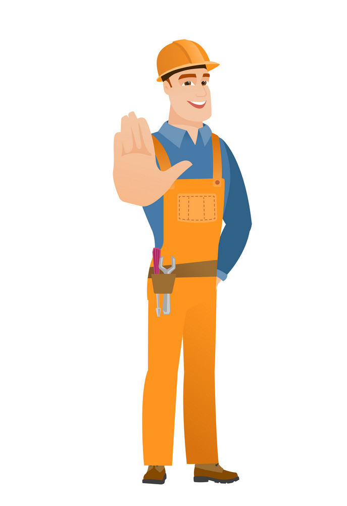 Young caucasian builder showing palm hand. Full length of builder showing palm hand. Builder making stop gesture by his palm. Vector flat design illustration isolated on white background.