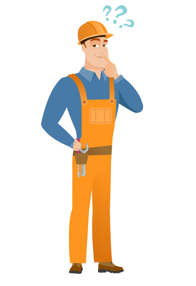 Young caucasian builder with question marks. Thoughtful builder with question marks. Builder looking at question marks above his head. Vector flat design illustration isolated on white background.